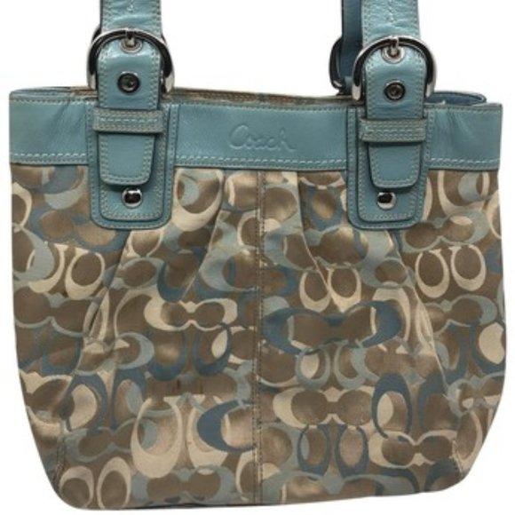 Coach Handbags - Coach Brown Green Medium Fabric Shoppers Tote Bag